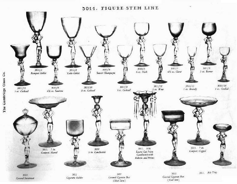 Stemware - 3011 Nude Line - Cambridge glass